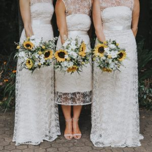 Bride & 2 bridesmaids with wedding bouquets