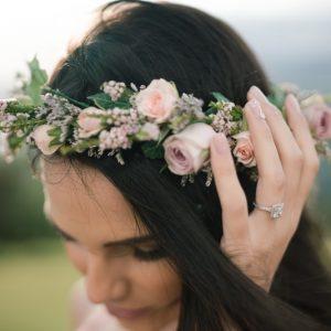 Bride wearing flowers in her hair